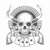Skull Revolvers Crossed Cards Revolver Coloring Gun Premium Freepik Cross Cartridges Clip Tattoos Tattoo Czaszka Illustrations Patronen Gratis Piraten Vektoren sketch template