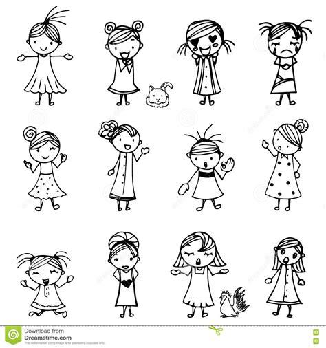 cute girl cartoon drawing  black  doodle vector