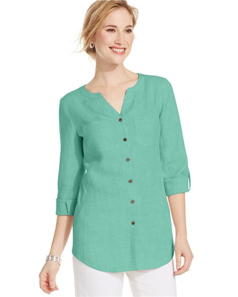 Tab Sleeved Linen Top jm collection plus size tab sleeve linen utility blouse