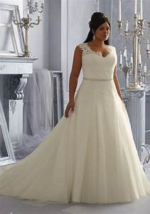 Sparkling embroidered lace appliques on tulle plus size for Embroidered wedding dress