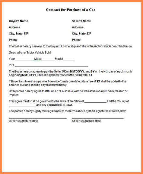 take car payments contract template car payment agreement form free chlain college publishing