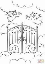 Heaven Coloring Gates Jesus Printable Sheets Drawing Clipart Heavens Bible Pencil Child Gate Drawings Children God Colorings Sunday Crafts Sketch sketch template