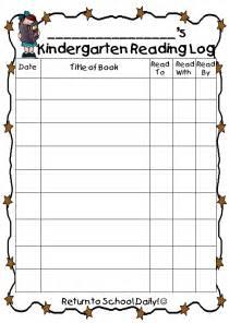 Kindergarten Reading Log Printable