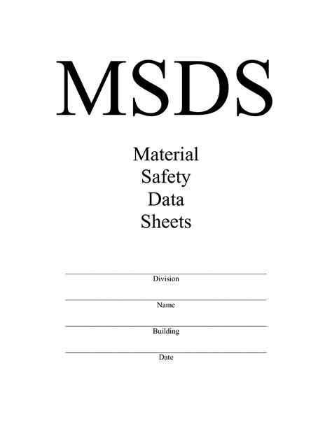 msds binder cover sheet template sds safety data sheet