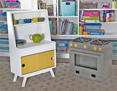 ana white retro wood toy pretend play kitchen dish hutch diy projects