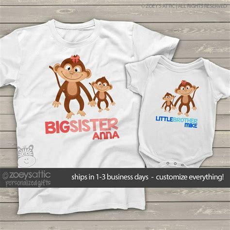 custom sibling shirts monkey brother sister matching