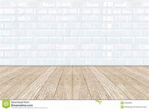 White Ceramic Brick Tile Wall And Wooden Floor Stock Image