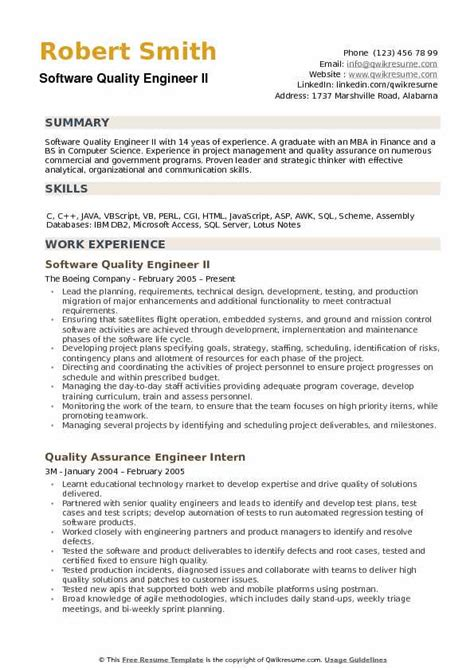 Quality Engineer Resume by Software Quality Engineer Resume Sles Qwikresume