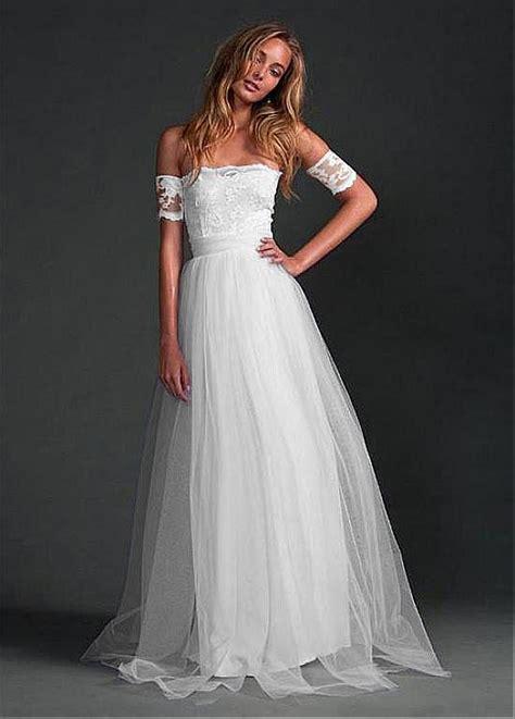 informal chiffon lace boho beach wedding dresses  long