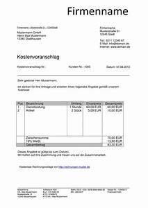 Kostenvoranschlag muster kostenlos downloaden for Reparatur kostenvoranschlag muster