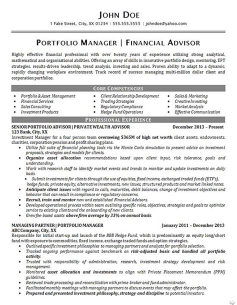 Fund Management Resume by The 266 Best Images About Resume Exles On Professional Resume Exles Resume