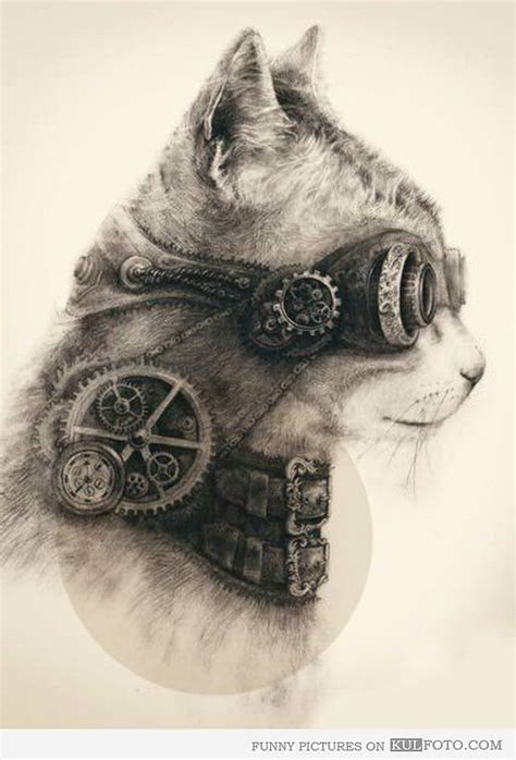 steampunk cat drawing amazing steampunk cat drawing