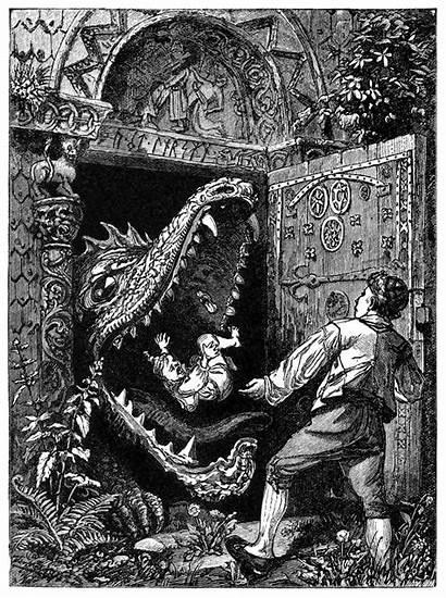 Dragon Door Behind Illustrations Blocked Tales Illustration