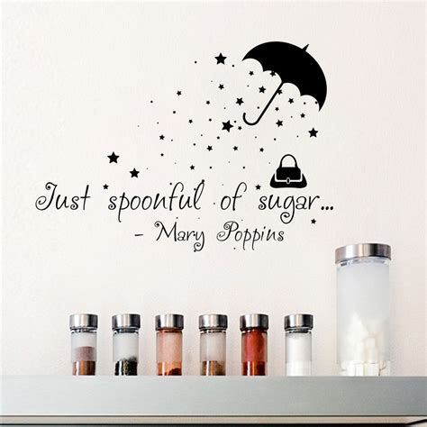 wall stickers quotes mary poppins  spoonful  sugar