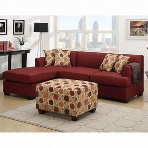 Poundex bobkona winfred 2 piece reversible sectional sofa for Uptown red 2 pc sectional sofa