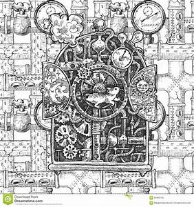 Steampunk Mechanism Sketch Stock Vector - Image: 63960100