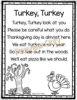 turkey turkey thanksgiving poem  kids