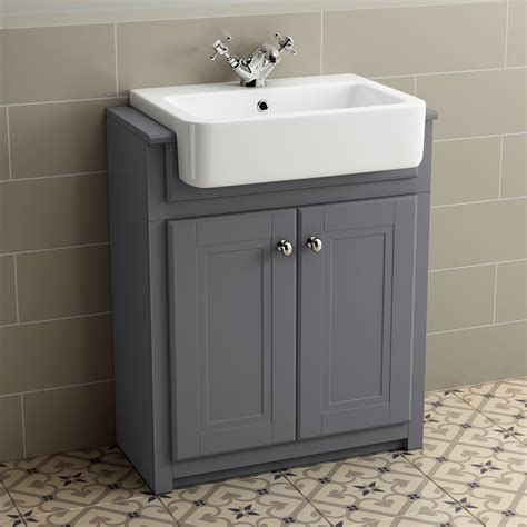 Traditional Grey Bathroom Vanity Unit Basin Furniture
