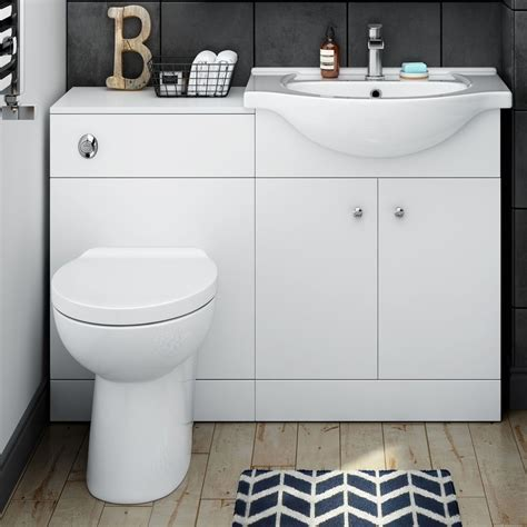 Modern Bathroom Sinks With Storage by White Vanity Units With Basin Toilet Storage Options