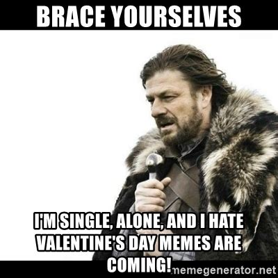 I Hate Valentines Day Meme - brace yourselves i m single alone and i hate valentine s day memes are coming winter is
