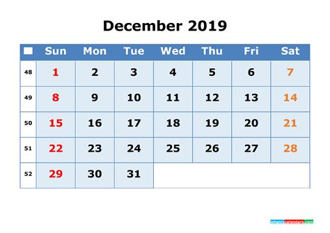december  printable calendar  week numbers