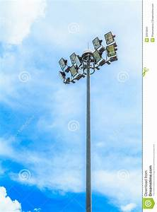 Stadium light pole stock image