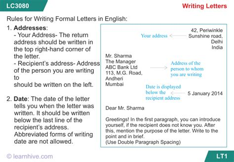 learnhive cbse grade  english writing letters