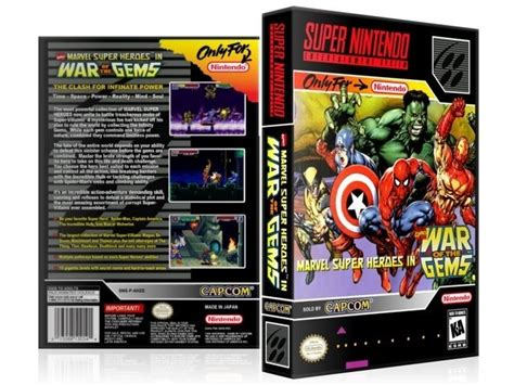 marvel super heroes war  gems snes video game case