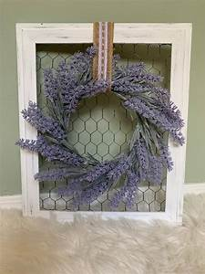 White, Distressed, Wooden, Frame, With, Chicken, Wire, And, Lilac, Wreath, In, 2020