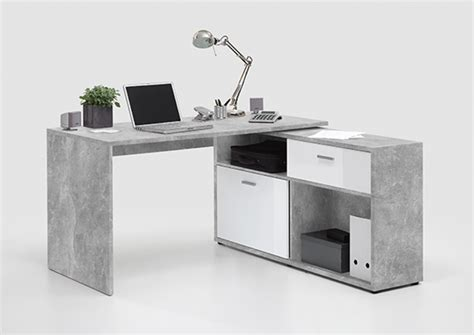 basika bureau bureau d 39 angle diego 1 béton blanc brillant