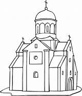 Coloring Dome Church Designlooter Freecoloringpagefun Cathedral sketch template