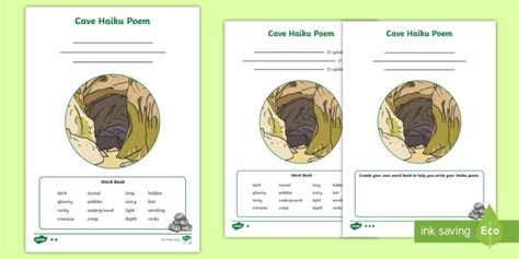 * New * Cave Haiku Poem Differentiated Activity Sheets Poem
