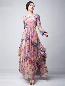 pink floral printed chiffon maxi dress milanoocom With robe longue fluide à fleurs