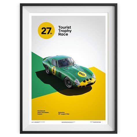 Scopri il dipartimento ferrari classiche, dove ferrari offre ai suoi clienti servizi di restauro, manutenzione e certificazione di autenticità. Affiche Ferrari 250 GTO verte - Goodwood 1963 - Stradale