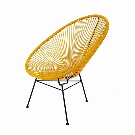 chaise copacabana fauteuil en fil de résine tendu moutarde et métal noir