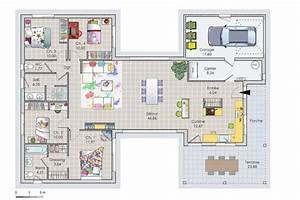 une maison de plain pied a ossature bois detail du plan With marvelous plan maison en l 100m2 2 maison plain pied en ossture bois ecologique