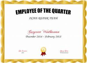 Employee of the quarter certificate created with for Employee of the quarter certificate template