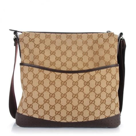 gucci medium perforated browm monogram canvas messenger