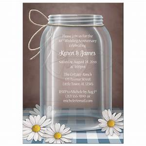 anniversary invitations mason jar daisy blue gingham With mason jar and daisy wedding invitations