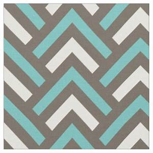 Teal Chevron Pattern Fabric Zazzle