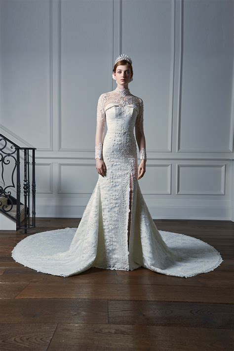 embroidered silk satin mermaid bridal gown  long