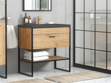 modern industrial loft vanity bathroom  cabinet sink