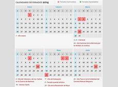 Calendario 2014 con días festivos de la Argentina