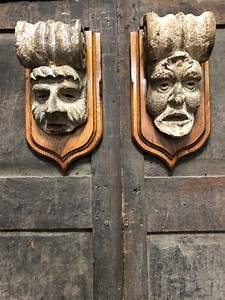 18th, Century, Carved, Stone, Grotesque, Corbels