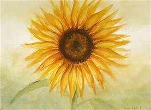 Sunflower Original Painting Aquarelle Let the Sun Shine at