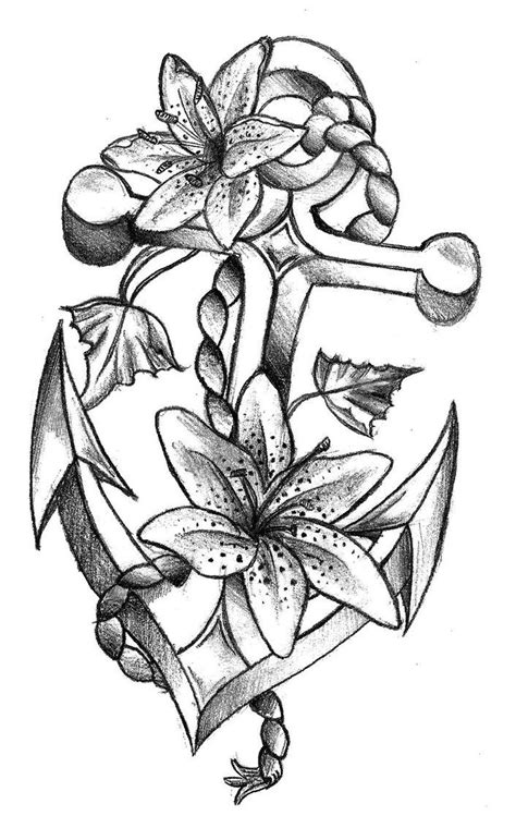 lily flowers  anchor tattoo design