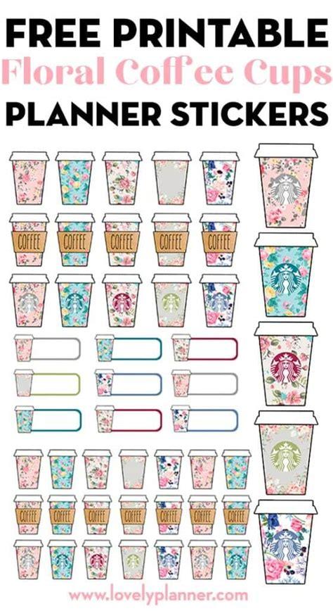 printable floral starbucks coffee cups planner