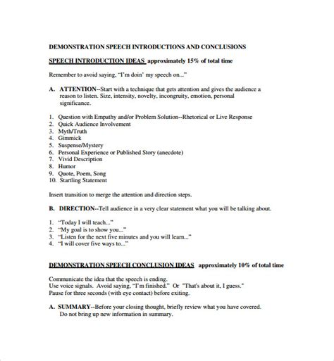 Demonstration Speech Outline Template by 9 Demonstration Speech Exle Templates Sle Templates