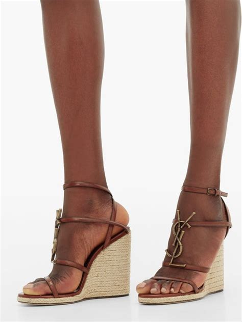 cassandra ysl monogram leather wedge sandals saint laurent matchesfashion