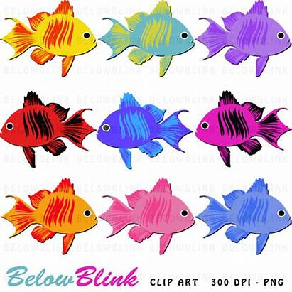 Fish Clipart Colorful Clip Printable Ocean Scrapbooking